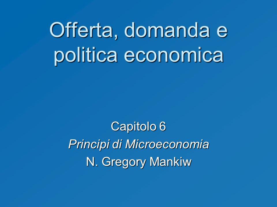 Offerta, domanda e politica economica Capitolo 6 Principi di Microeconomia N. Gregory Mankiw