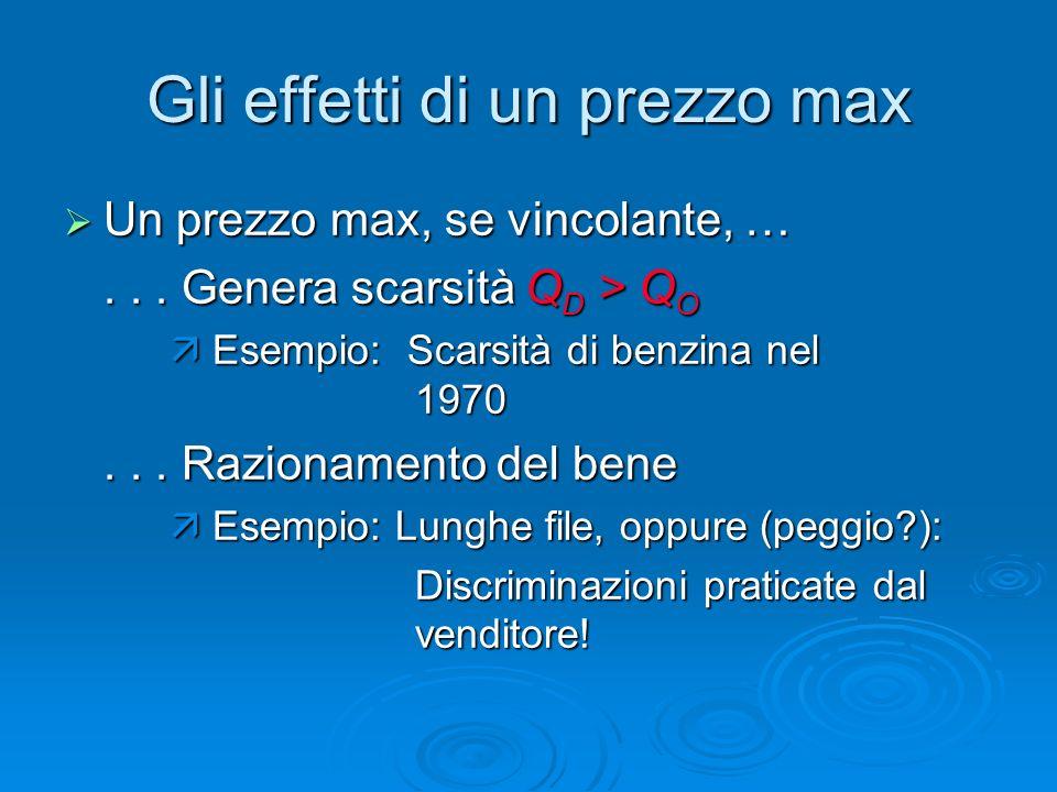Gli effetti di un prezzo max Un prezzo max, se vincolante, … Un prezzo max, se vincolante, …... Genera scarsità Q D > Q O Esempio: Scarsità di benzina