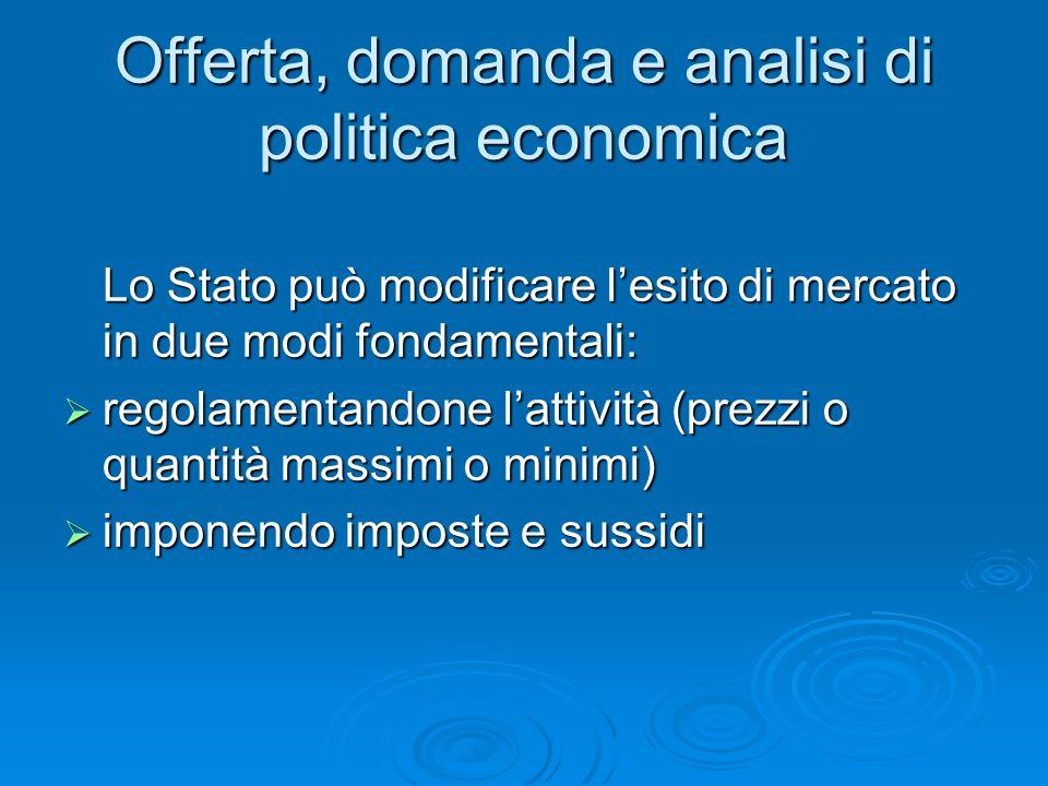 Offerta, domanda e analisi di politica economica Lo Stato può modificare lesito di mercato in due modi fondamentali: regolamentandone lattività (prezz