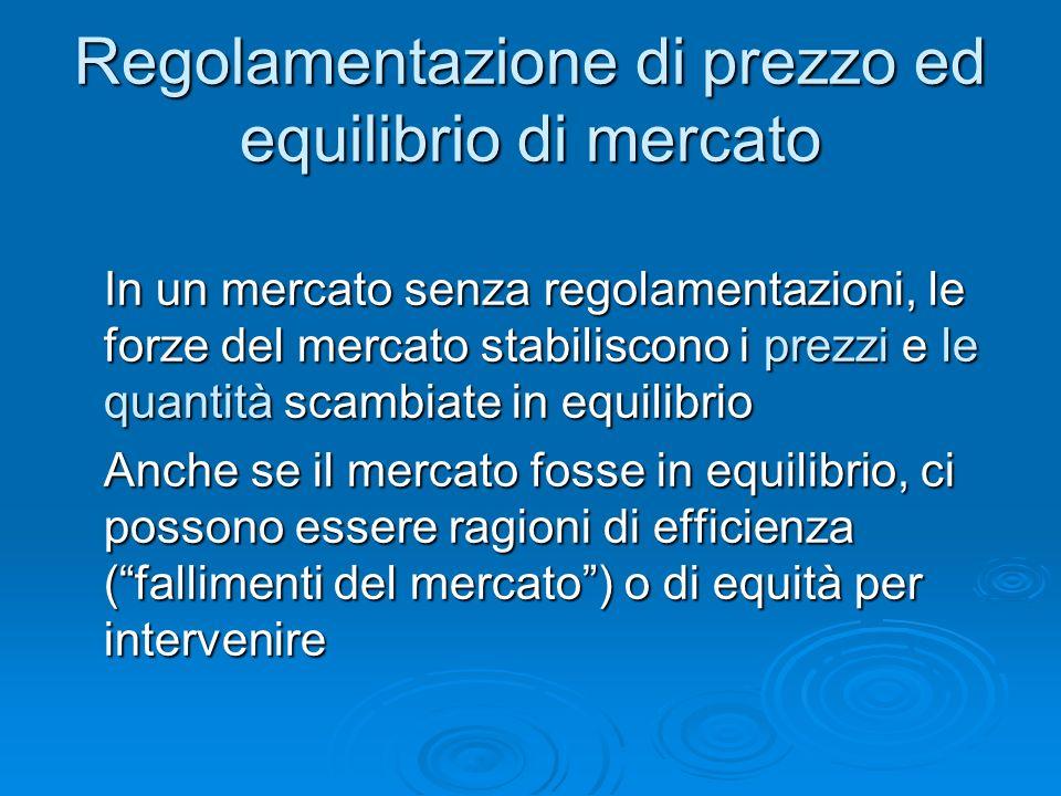 Regolamentazione di prezzo ed equilibrio di mercato In un mercato senza regolamentazioni, le forze del mercato stabiliscono i prezzi e le quantità sca