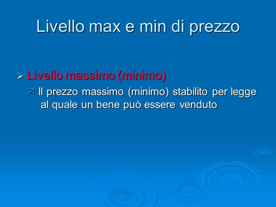 Livello max e min di prezzo Livello massimo (minimo) Livello massimo (minimo) Il prezzo massimo (minimo) stabilito per legge al quale un bene può esse