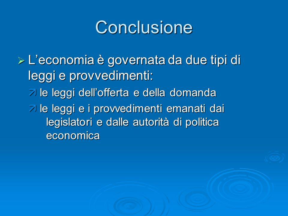Conclusione Leconomia è governata da due tipi di leggi e provvedimenti: Leconomia è governata da due tipi di leggi e provvedimenti: le leggi delloffer