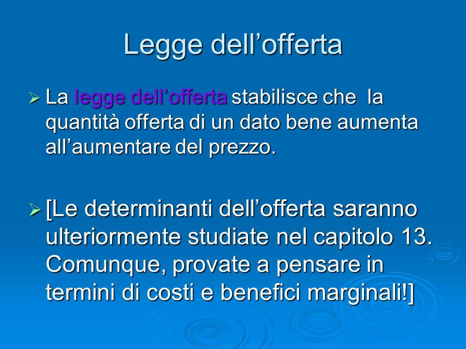 Legge dellofferta La legge dellofferta stabilisce che la quantità offerta di un dato bene aumenta allaumentare del prezzo. La legge dellofferta stabil