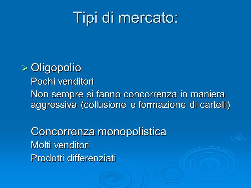 Tipi di mercato: Oligopolio Oligopolio Pochi venditori Non sempre si fanno concorrenza in maniera aggressiva (collusione e formazione di cartelli) Con