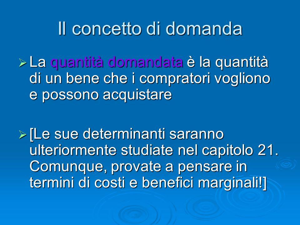 Il concetto di domanda La quantità domandata è la quantità di un bene che i compratori vogliono e possono acquistare La quantità domandata è la quanti