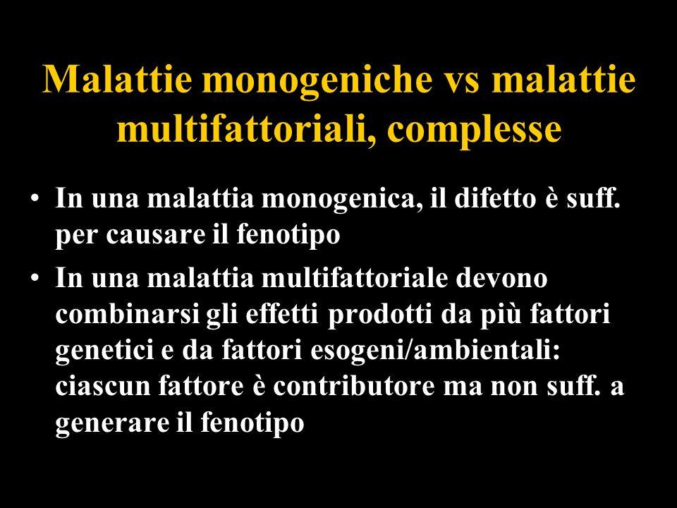 Malattie monogeniche vs malattie multifattoriali, complesse In una malattia monogenica, il difetto è suff. per causare il fenotipo In una malattia mul