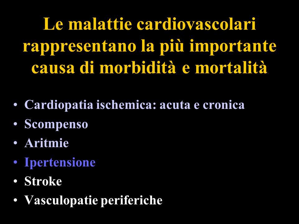 Le malattie cardiovascolari rappresentano la più importante causa di morbidità e mortalità Cardiopatia ischemica: acuta e cronica Scompenso Aritmie Ip