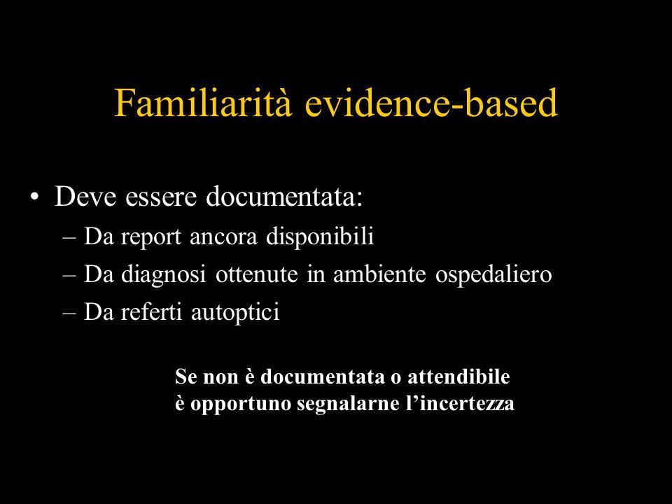 Familiarità evidence-based Deve essere documentata: –Da report ancora disponibili –Da diagnosi ottenute in ambiente ospedaliero –Da referti autoptici