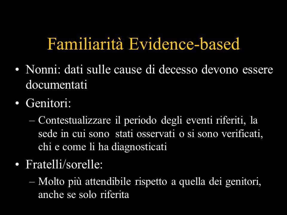 Familiarità Evidence-based Nonni: dati sulle cause di decesso devono essere documentati Genitori: –Contestualizzare il periodo degli eventi riferiti,