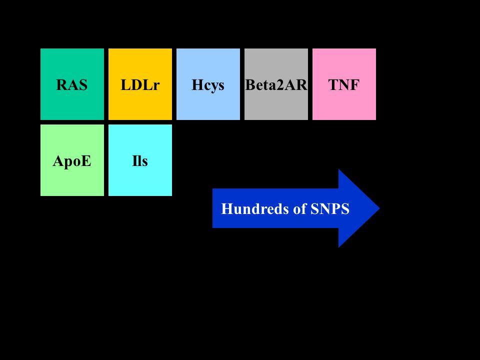 RASLDLrHcysBeta2ARTNF ApoEIls Hundreds of SNPS