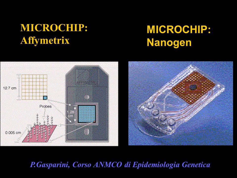 MICROCHIP: Affymetrix MICROCHIP: Nanogen P.Gasparini, Corso ANMCO di Epidemiologia Genetica