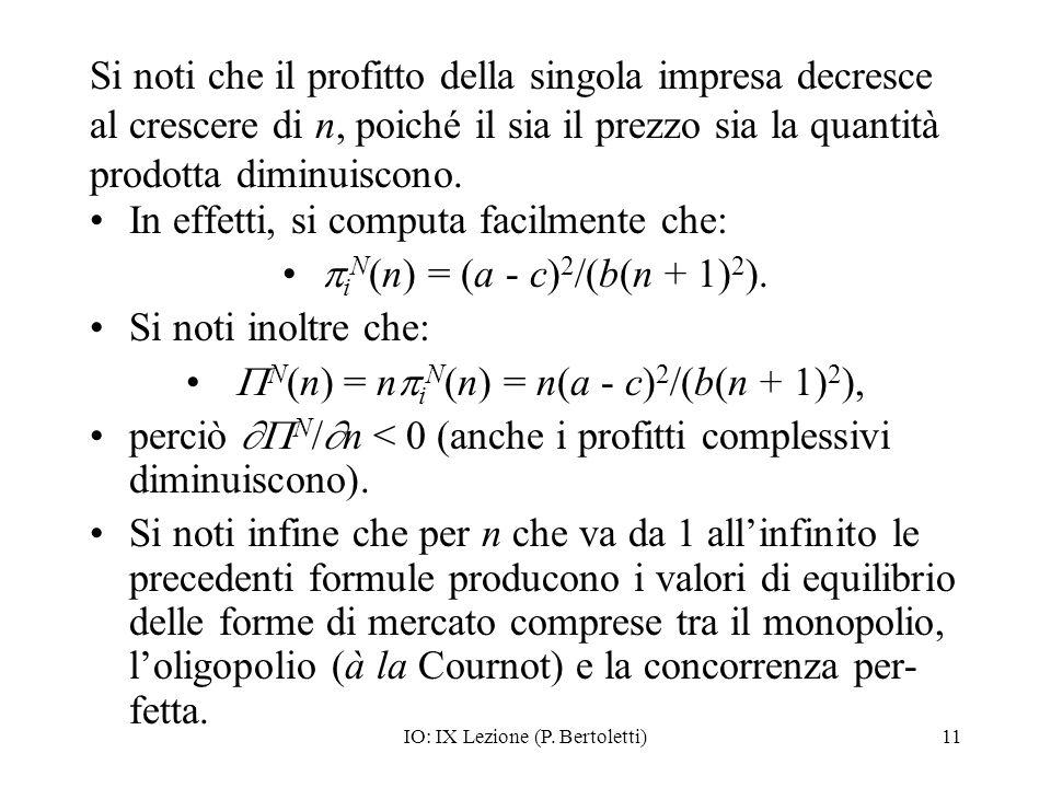 IO: IX Lezione (P. Bertoletti)11 Si noti che il profitto della singola impresa decresce al crescere di n, poiché il sia il prezzo sia la quantità prod