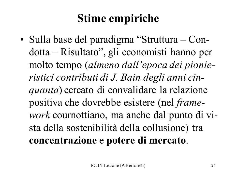 IO: IX Lezione (P. Bertoletti)21 Stime empiriche Sulla base del paradigma Struttura – Con- dotta – Risultato, gli economisti hanno per molto tempo (al