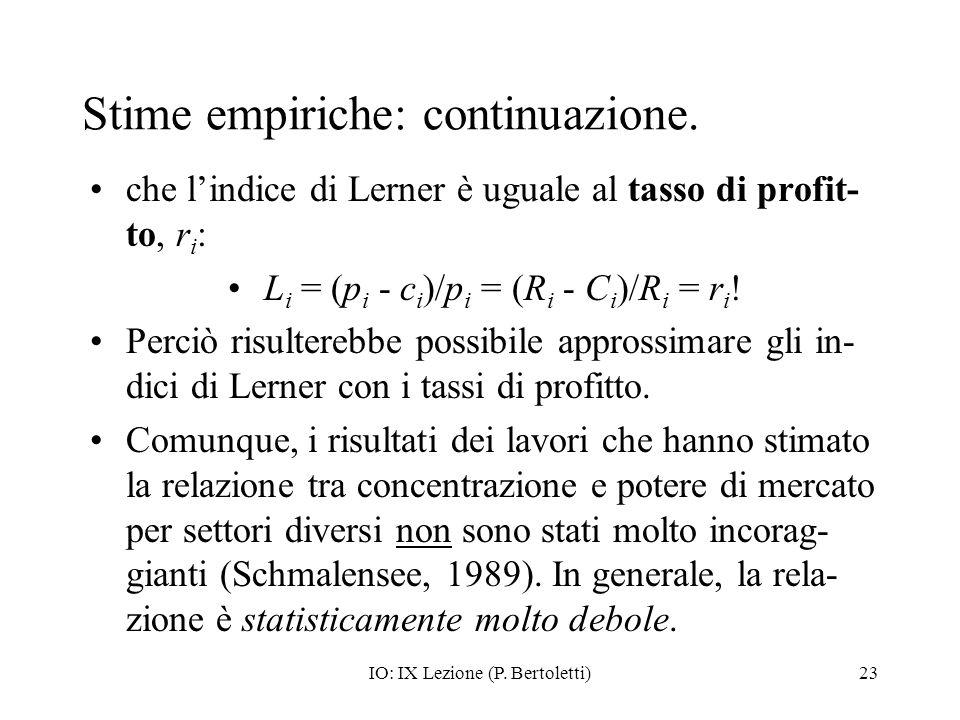IO: IX Lezione (P. Bertoletti)23 Stime empiriche: continuazione. che lindice di Lerner è uguale al tasso di profit- to, r i : L i = (p i - c i )/p i =