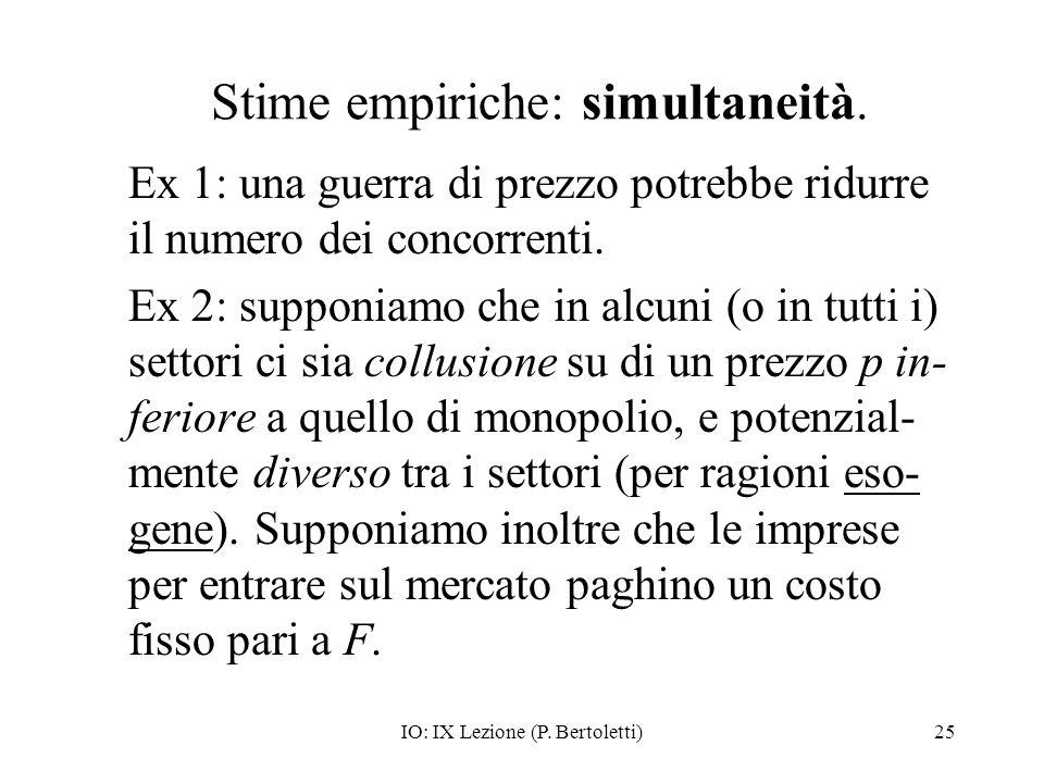 IO: IX Lezione (P. Bertoletti)25 Stime empiriche: simultaneità. Ex 1: una guerra di prezzo potrebbe ridurre il numero dei concorrenti. Ex 2: supponiam