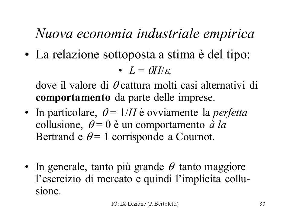 IO: IX Lezione (P. Bertoletti)30 Nuova economia industriale empirica La relazione sottoposta a stima è del tipo: L = H/, dove il valore di cattura mol