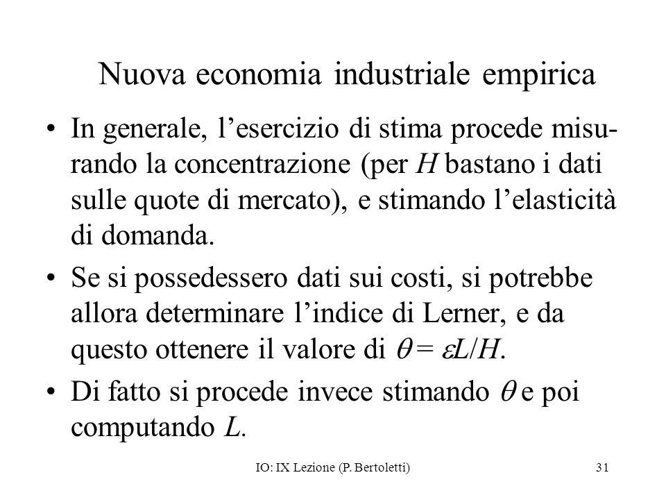 IO: IX Lezione (P. Bertoletti)31 Nuova economia industriale empirica In generale, lesercizio di stima procede misu- rando la concentrazione (per H bas