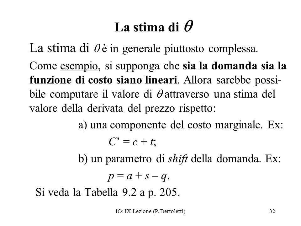 IO: IX Lezione (P. Bertoletti)32 La stima di La stima di è in generale piuttosto complessa. Come esempio, si supponga che sia la domanda sia la funzio