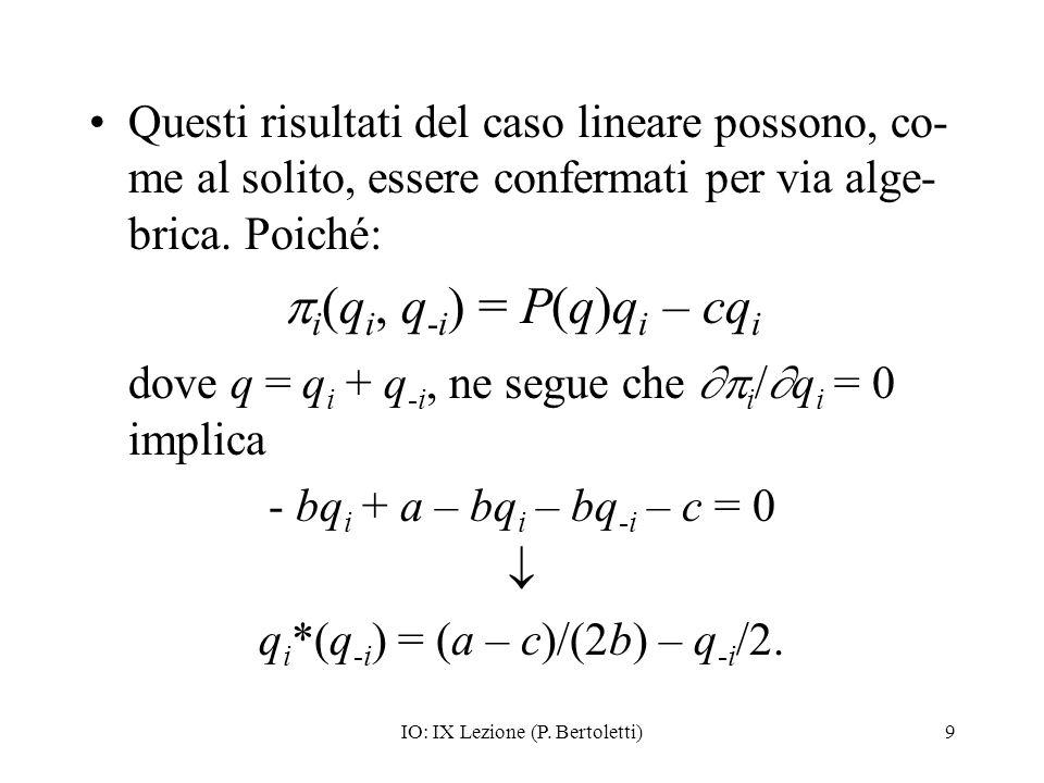 IO: IX Lezione (P. Bertoletti)9 Questi risultati del caso lineare possono, co- me al solito, essere confermati per via alge- brica. Poiché: i (q i, q