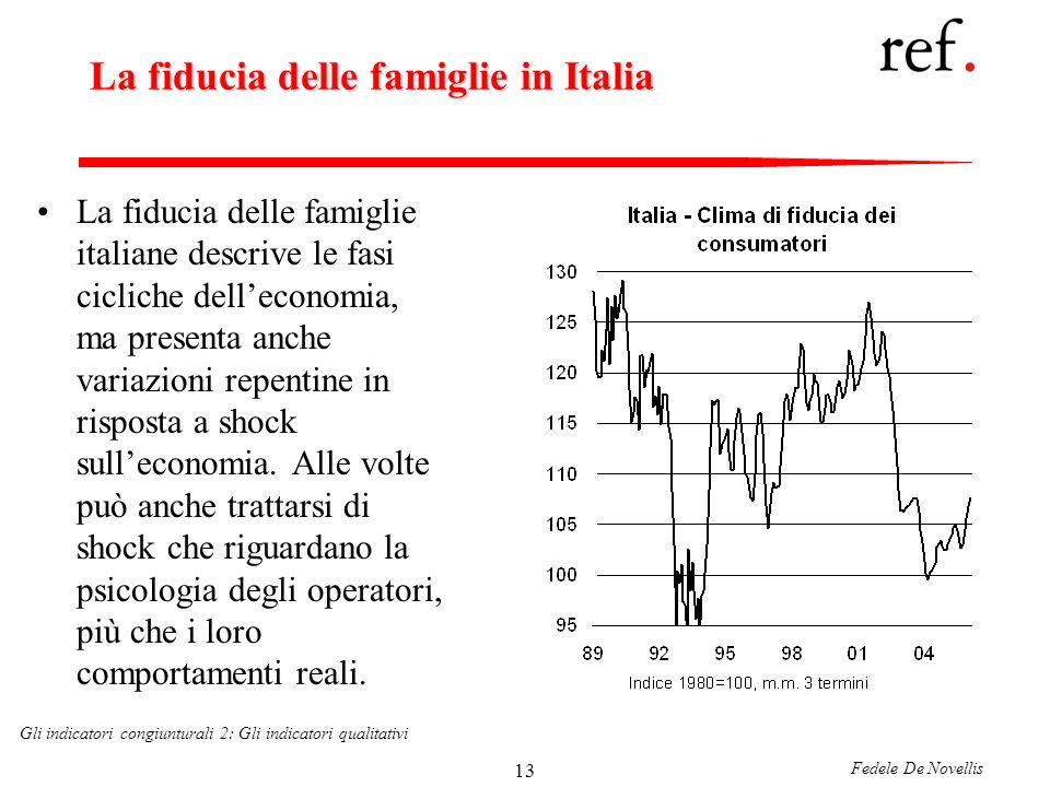 Fedele De Novellis Gli indicatori congiunturali 2: Gli indicatori qualitativi 13 La fiducia delle famiglie in Italia La fiducia delle famiglie italiane descrive le fasi cicliche delleconomia, ma presenta anche variazioni repentine in risposta a shock sulleconomia.