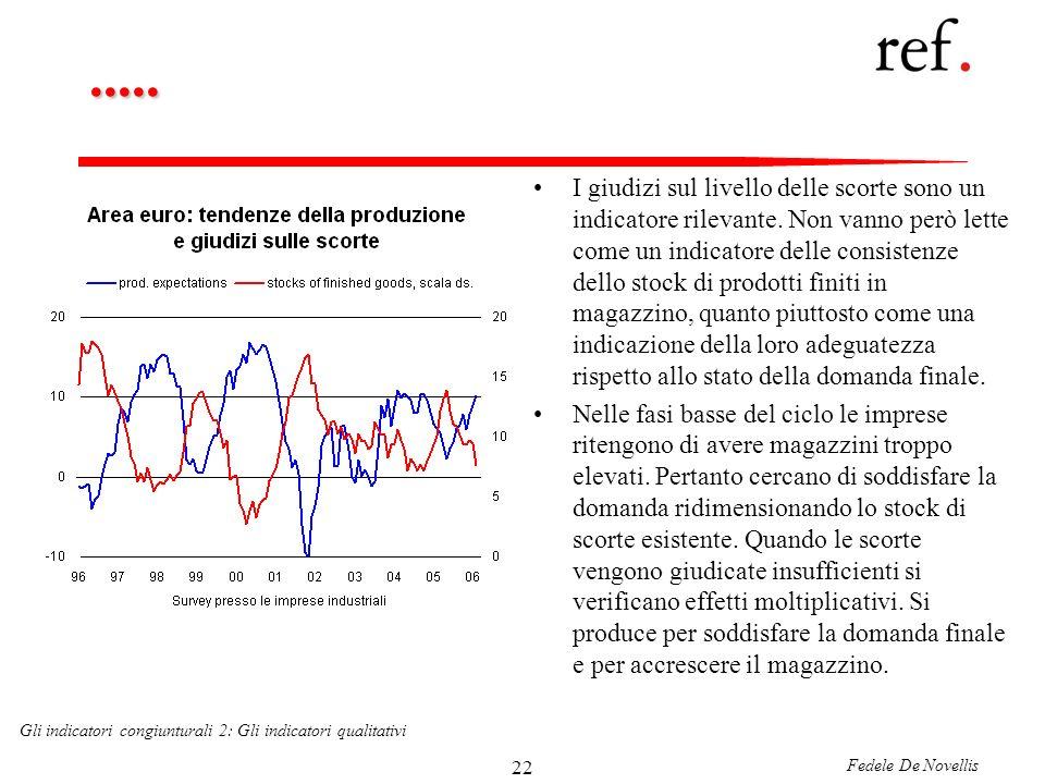 Fedele De Novellis Gli indicatori congiunturali 2: Gli indicatori qualitativi 22.....