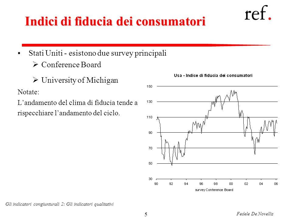 Fedele De Novellis Gli indicatori congiunturali 2: Gli indicatori qualitativi 36 Il ruolo delle variabili finanziarie allinterno dei leading indicator Notate come nel leading indicator siano incluse anche alcune variabili di carattere finanziario.