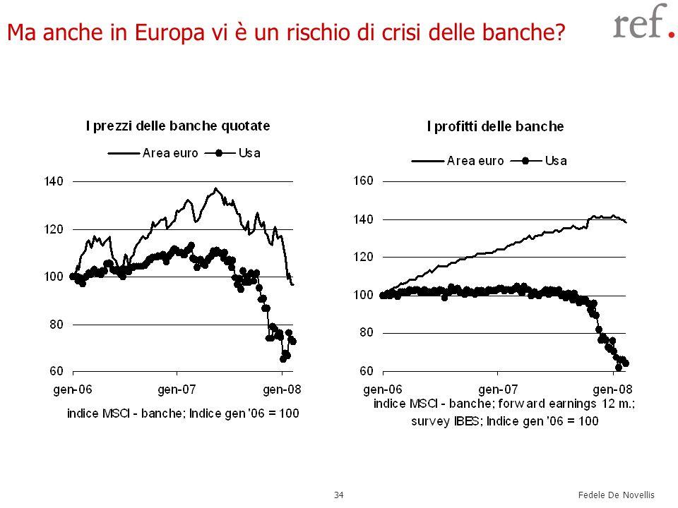 Fedele De Novellis 34 Ma anche in Europa vi è un rischio di crisi delle banche