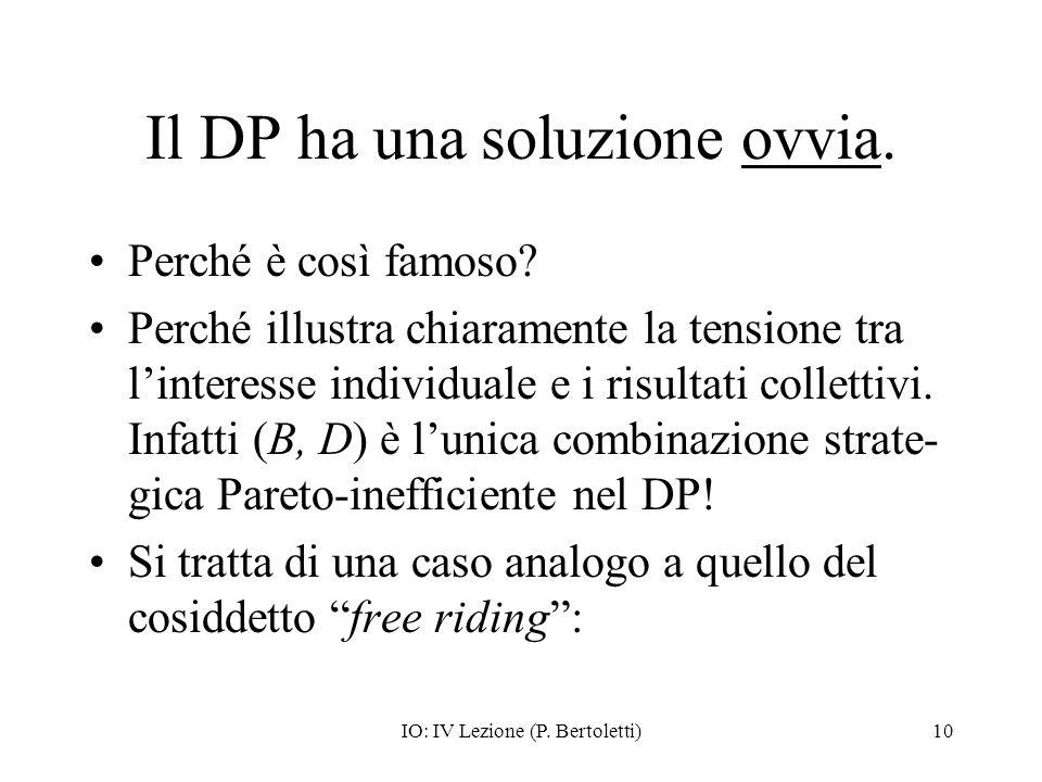 IO: IV Lezione (P. Bertoletti)10 Il DP ha una soluzione ovvia. Perché è così famoso? Perché illustra chiaramente la tensione tra linteresse individual