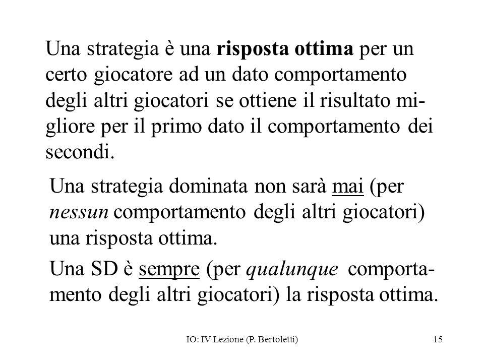 IO: IV Lezione (P. Bertoletti)15 Una strategia è una risposta ottima per un certo giocatore ad un dato comportamento degli altri giocatori se ottiene