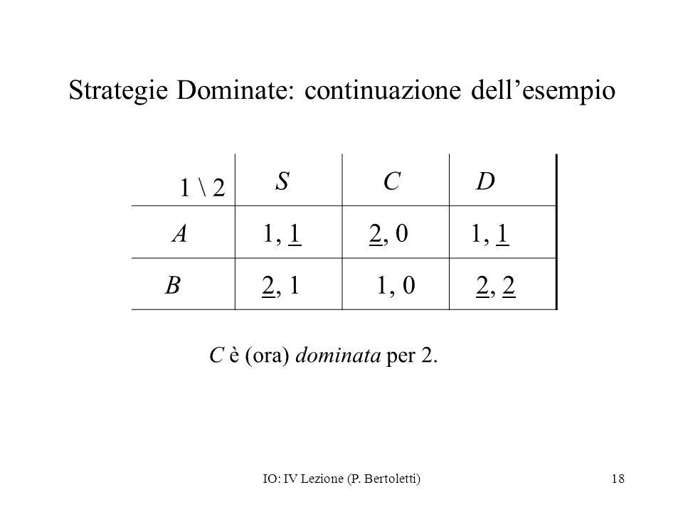 IO: IV Lezione (P. Bertoletti)18 Strategie Dominate: continuazione dellesempio 1 \ 2 S C D A 1, 1 2, 0 1, 1 B 2, 1 1, 0 2, 2 C è (ora) dominata per 2.