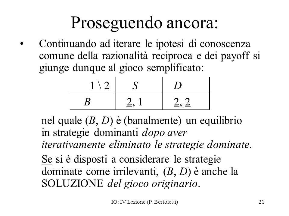IO: IV Lezione (P. Bertoletti)21 Proseguendo ancora: Continuando ad iterare le ipotesi di conoscenza comune della razionalità reciproca e dei payoff s