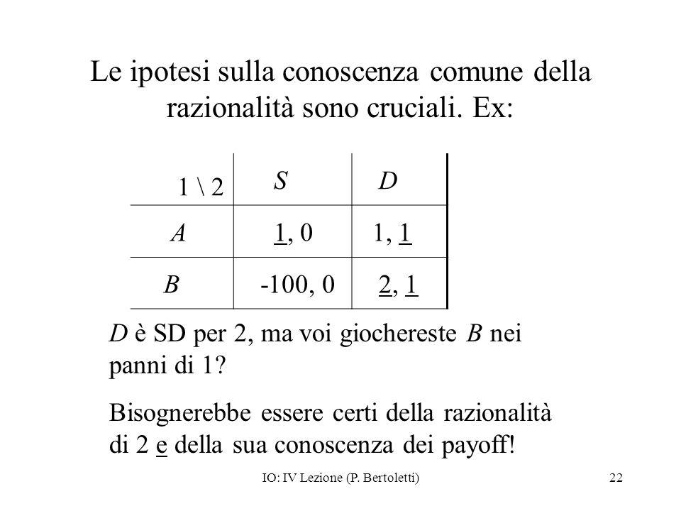 IO: IV Lezione (P. Bertoletti)22 Le ipotesi sulla conoscenza comune della razionalità sono cruciali. Ex: 1 \ 2 S D A 1, 0 1, 1 B -100, 0 2, 1 D è SD p