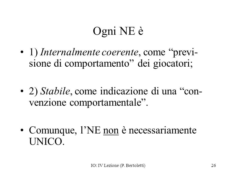 IO: IV Lezione (P. Bertoletti)26 Ogni NE è 1) Internalmente coerente, come previ- sione di comportamento dei giocatori; 2) Stabile, come indicazione d
