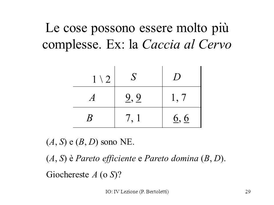 IO: IV Lezione (P. Bertoletti)29 Le cose possono essere molto più complesse. Ex: la Caccia al Cervo 1 \ 2 S D A 9, 9 1, 7 B 7, 1 6, 6 (A, S) e (B, D)