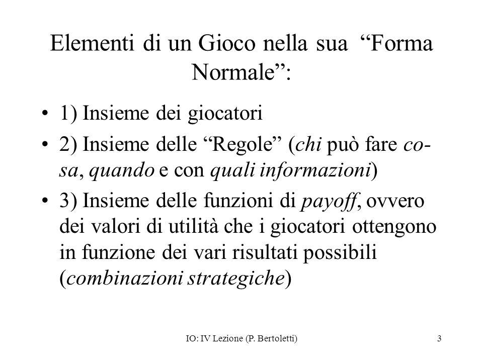 IO: IV Lezione (P. Bertoletti)3 Elementi di un Gioco nella sua Forma Normale: 1) Insieme dei giocatori 2) Insieme delle Regole (chi può fare co- sa, q