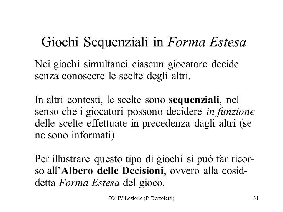 IO: IV Lezione (P. Bertoletti)31 Giochi Sequenziali in Forma Estesa Nei giochi simultanei ciascun giocatore decide senza conoscere le scelte degli alt