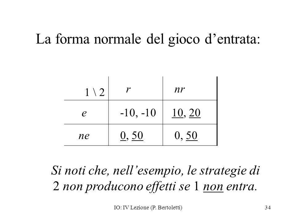 IO: IV Lezione (P. Bertoletti)34 La forma normale del gioco dentrata: 1 \ 2 r nr e -10, -10 10, 20 ne 0, 50 Si noti che, nellesempio, le strategie di