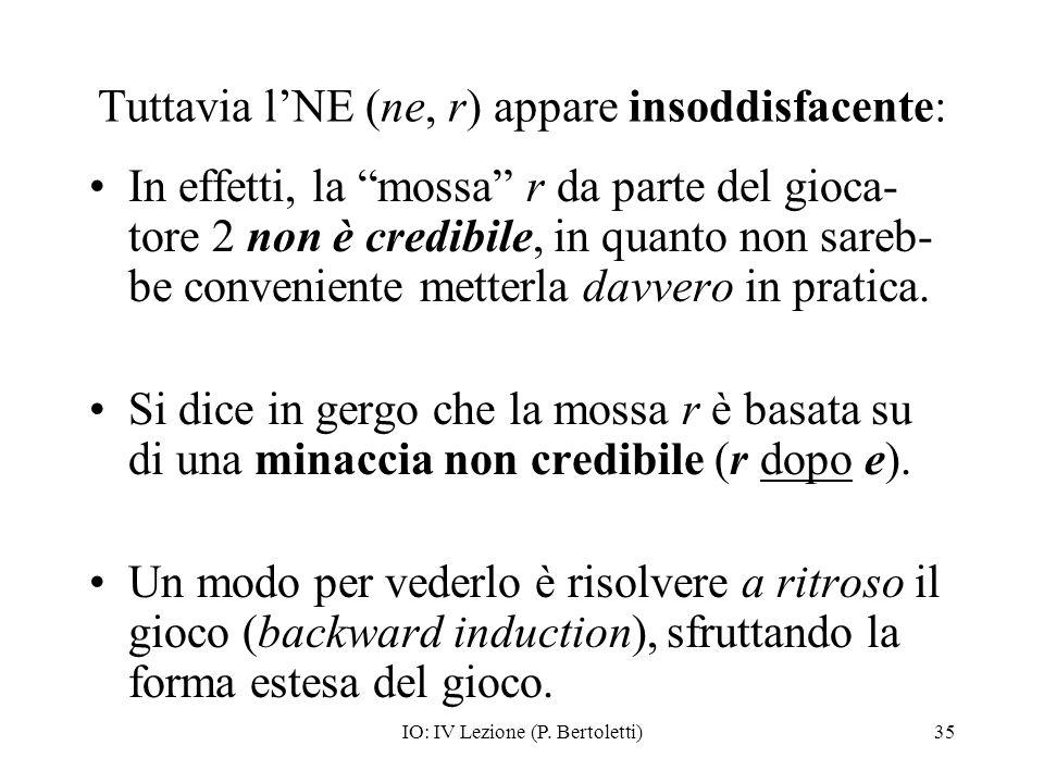 IO: IV Lezione (P. Bertoletti)35 Tuttavia lNE (ne, r) appare insoddisfacente: In effetti, la mossa r da parte del gioca- tore 2 non è credibile, in qu