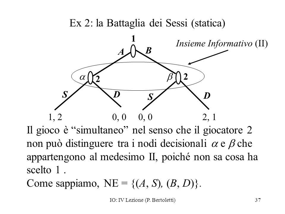 IO: IV Lezione (P. Bertoletti)37 Il gioco è simultaneo nel senso che il giocatore 2 non può distinguere tra i nodi decisionali e che appartengono al m