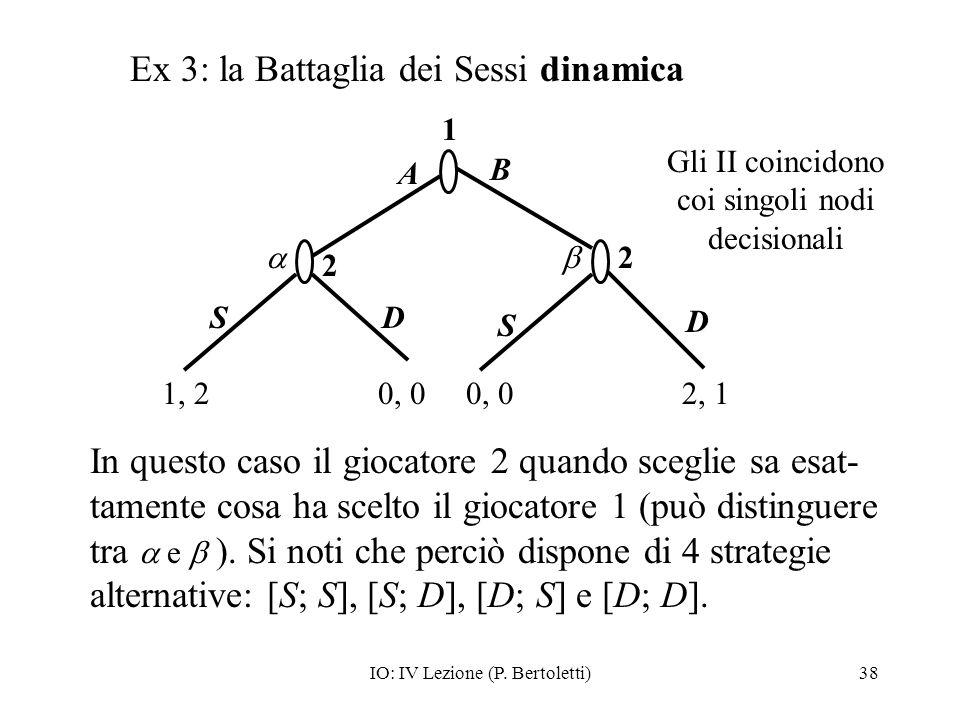 IO: IV Lezione (P. Bertoletti)38 In questo caso il giocatore 2 quando sceglie sa esat- tamente cosa ha scelto il giocatore 1 (può distinguere tra e ).