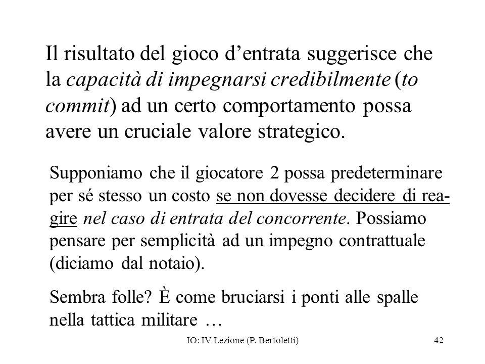 IO: IV Lezione (P. Bertoletti)42 Il risultato del gioco dentrata suggerisce che la capacità di impegnarsi credibilmente (to commit) ad un certo compor