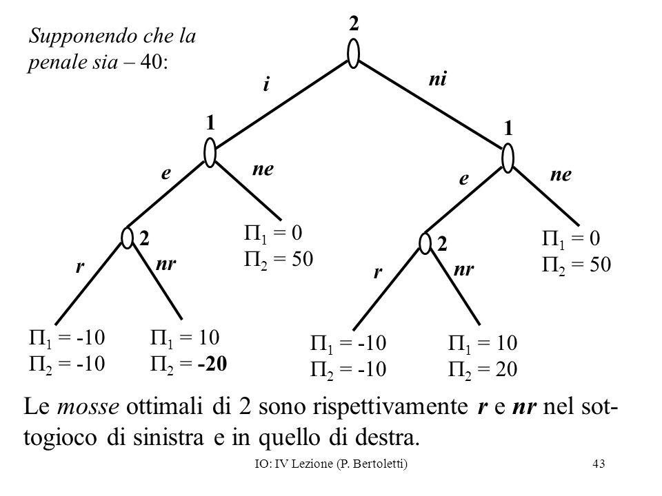 IO: IV Lezione (P. Bertoletti)43 e r nr 1 = -10 2 = -10 1 ne 2 1 = 10 2 = -20 1 = 0 2 = 50 e r nr 1 = -10 2 = -10 1 ne 2 1 = 10 2 = 20 1 = 0 2 = 50 2