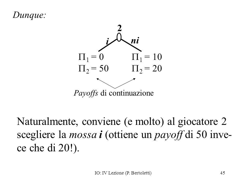 IO: IV Lezione (P. Bertoletti)45 Naturalmente, conviene (e molto) al giocatore 2 scegliere la mossa i (ottiene un payoff di 50 inve- ce che di 20!). D