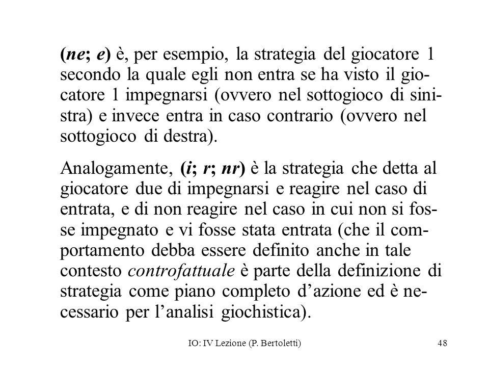 IO: IV Lezione (P. Bertoletti)48 (ne; e) è, per esempio, la strategia del giocatore 1 secondo la quale egli non entra se ha visto il gio- catore 1 imp