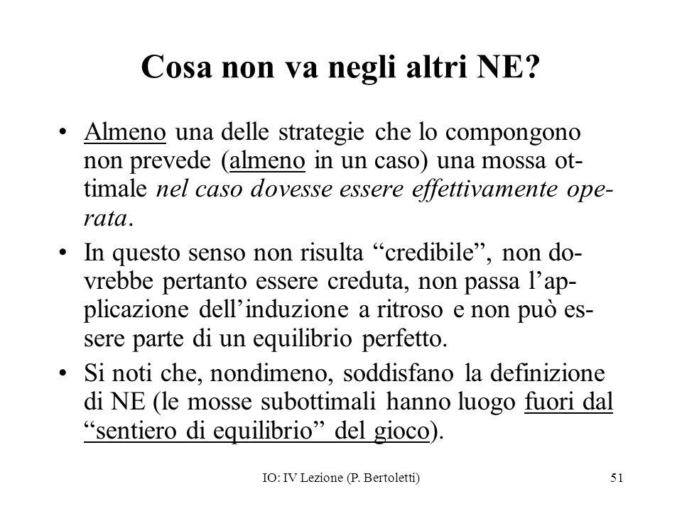 IO: IV Lezione (P. Bertoletti)51 Cosa non va negli altri NE? Almeno una delle strategie che lo compongono non prevede (almeno in un caso) una mossa ot
