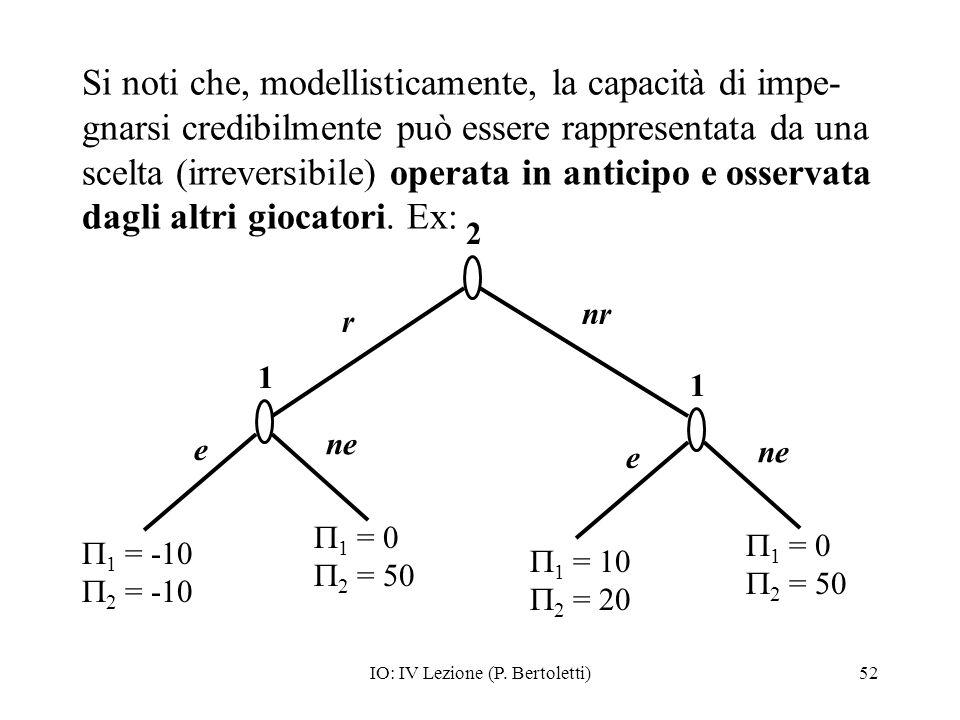 IO: IV Lezione (P. Bertoletti)52 Si noti che, modellisticamente, la capacità di impe- gnarsi credibilmente può essere rappresentata da una scelta (irr