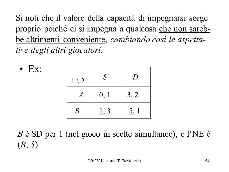 IO: IV Lezione (P. Bertoletti)54 Si noti che il valore della capacità di impegnarsi sorge proprio poiché ci si impegna a qualcosa che non sareb- be al