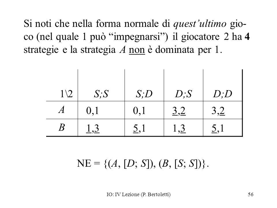 IO: IV Lezione (P. Bertoletti)56 Si noti che nella forma normale di questultimo gio- co (nel quale 1 può impegnarsi) il giocatore 2 ha 4 strategie e l