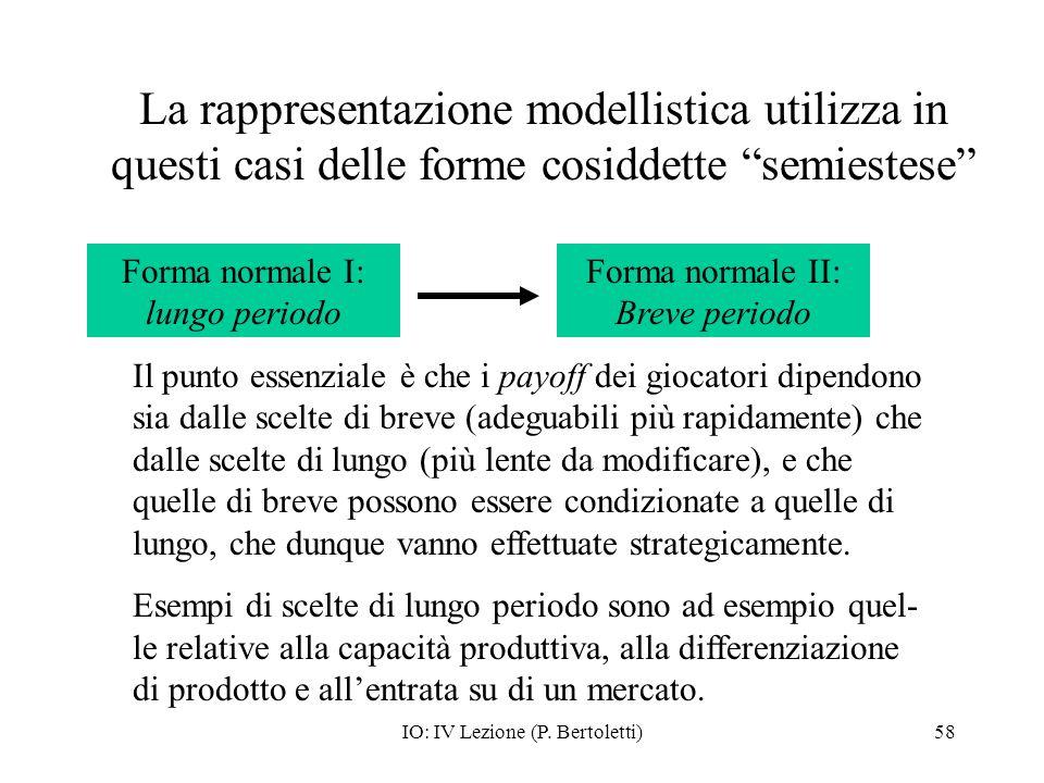 IO: IV Lezione (P. Bertoletti)58 La rappresentazione modellistica utilizza in questi casi delle forme cosiddette semiestese Forma normale I: lungo per