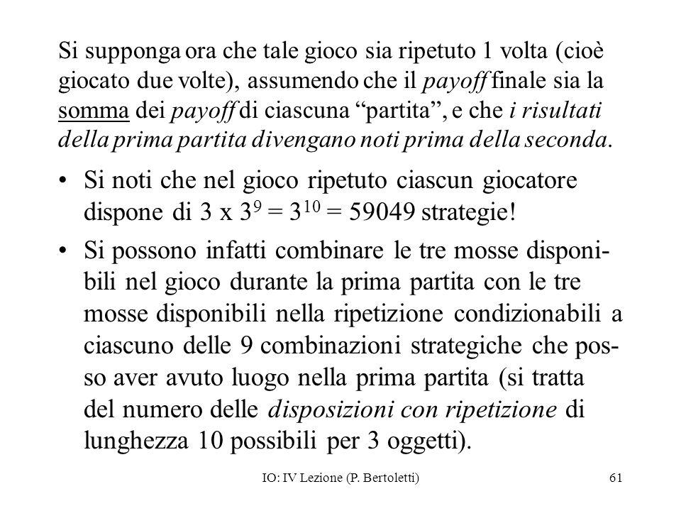 IO: IV Lezione (P. Bertoletti)61 Si supponga ora che tale gioco sia ripetuto 1 volta (cioè giocato due volte), assumendo che il payoff finale sia la s